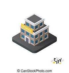 Isometric school icon, building city infographic element, vector illustration