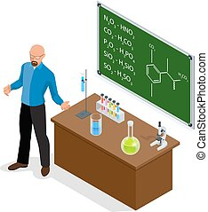 Isometric Scientist has performed a successful experiment in chemistry. Chemistry lesson making experiments. Laboratory test tubes and flasks with colored liquids on the table of elements.