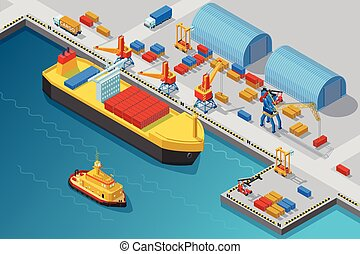 Isometric Seaport And Dock Template - Isometric seaport and...