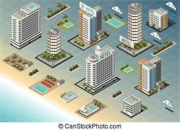 Isometric Seaside Buildings - Detailed illustration of...