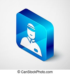Isometric Seller icon isolated on grey background. Blue square button. Vector Illustration