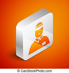 Isometric Seller icon isolated on orange background. Silver square button. Vector Illustration