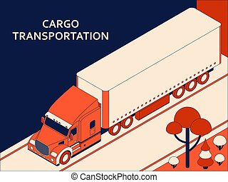 Isometric semi truck with red cab transporting commercial cargo moving on the highway