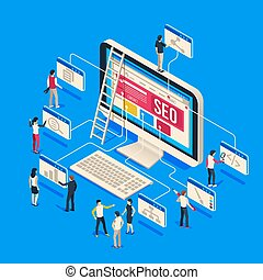 Isometric seo agency. Creative people startup develop team creating together on computer. 3d seo vector illustration