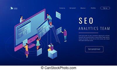 Isometric SEO analytics team landing page.