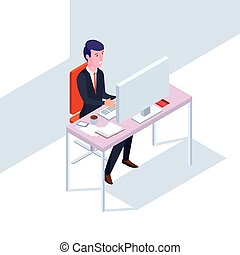 Isometric SEO businessman at work. Flat style office vector illustration