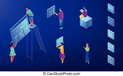 Isometric SEO services illustration.