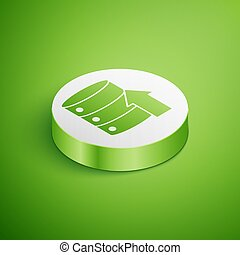 Isometric Server, Data, Web Hosting icon isolated on green background. White circle button. Vector Illustration