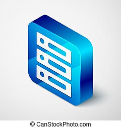 Isometric Server, Data, Web Hosting icon isolated on grey background. Blue square button. Vector Illustration