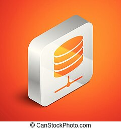 Isometric Server, Data, Web Hosting icon isolated on orange background. Silver square button. Vector Illustration