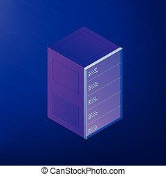 Isometric server rack. Vector 3d illustration.