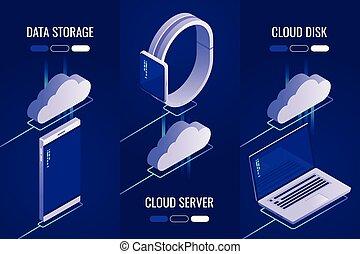 isometric, set, 3, opslag, stijl, drive., headers, server., downloaden, .uploading, data, wolk, 3d
