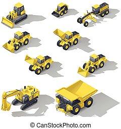 isometric, set, carrière, bouwsector, vervoeren, pictogram