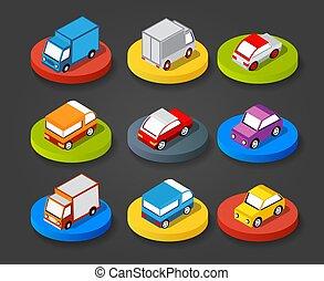 Isometric set cars
