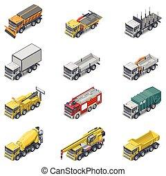 isometric, set, dienst, vrachtwagens, commercieel, bouwsector, pictogram