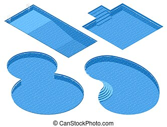 Isometric Set Different Forms Swimming Pools. Rectangular,...