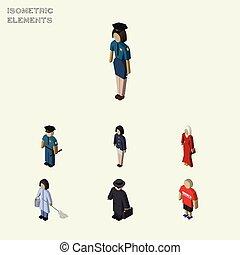isometric, set, elements., persoon, objects., omvat, policewoman, ook, officier, vector, vrouwlijk, kerel, anderen, detective