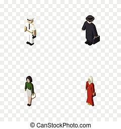 isometric, set, elements., persoon, zeeman, omvat, ook, detective, vector, politie, opvoeder, pedagoog, objects., meisje, anderen