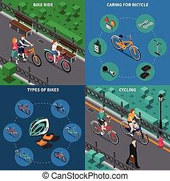 isometric, set, fiets, samenstelling