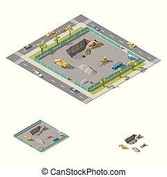 isometric, set, graafwerktuig, bouwterrein, op kamers, bouwsector, pit, pictogram