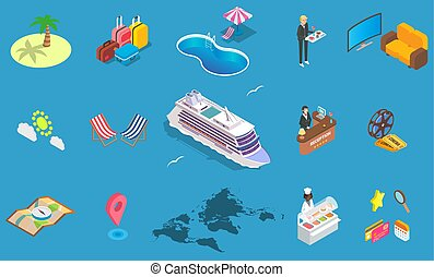 isometric, set, illustratie, vector, zee, cruise, pictogram