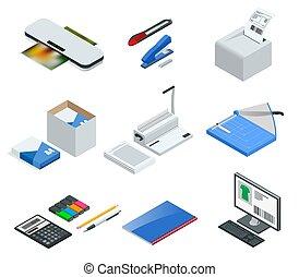 isometric, set, laminator, de pictogrammen van het bureau, printer, nietapparaat, illustratie, vector, mes, binder, multifunctioneel, tools., snijder