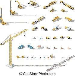 isometric, set, lowpoly, uitrusting, gebouw mechanisme, pictogram