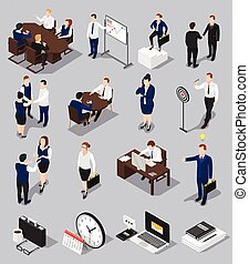 isometric, set, meettings, zakelijk