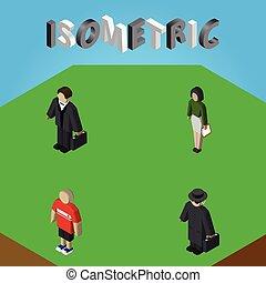 isometric, set, menselijk, elements., jongen, omvat, ook, detective, vector, kerel, zakenman, investeerder, objects., anderen