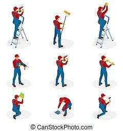 isometric, set, met, huis herstelling, werkmannen , doen, onderhoud, industriebedrijven, opdrachtnemers, werkmannen , mensen., vrijstaand, op, witte achtergrond