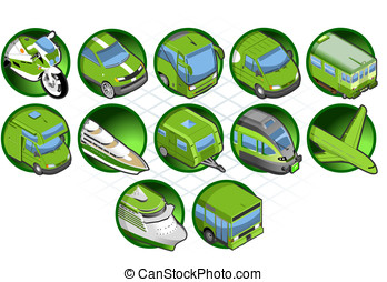 isometric set of a travel icon