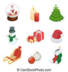 Isometric set of Christmas new year holiday decoration icons set isolated vector illustration New Year s ball, candles, snowman, gifts, Christmas tree, santa hat, sled, New Year s toys