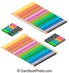 Isometric set of Colored pencils and markers. Office stationery set. Office supplies, writing and drawing tools, desk organizers for office, home, back to school