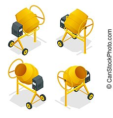 Isometric set of Concrete mixer icon for web. Cement mixer vector, pouring cement isolated white background.