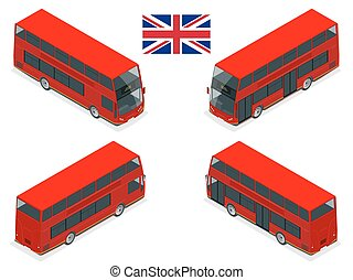 Isometric set of London double decker Red bus. United...