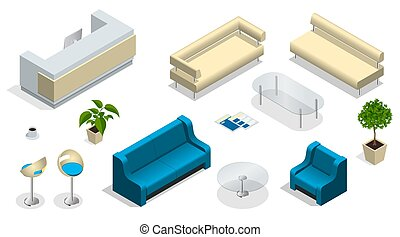 Isometric set of modern office furniture. Modern office interior with a reception desk. furniture, office.