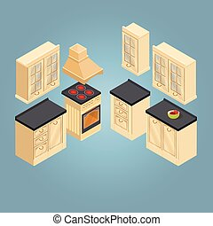 Isometric set of retro kitchen furniture icon. Vector.