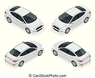 Isometric set of Sedan Cars. Compact Hybrid Vehicle. Eco-friendly hi-tech auto. Isolated car, template for branding and advertising.
