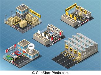 Isometric Set of Storage Buildings - Detailed illustration...