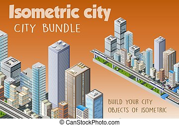 Isometric set of the modern city