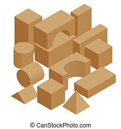 Isometric set of the wooden constructor of small cubes, triangles, balls and other forms isolated on a white background. Playing building blocks toys.