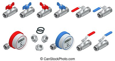 Isometric set of water meters for cold and warm water with pipeline. Vector illustration Counters isolated on white background. Sanitary equipment.