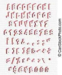 isometric, set, on., illustration., alfabet, brieven, symbolen, vector, zo, getallen, 71