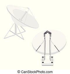 Isometric set satellite dish antennas on white  wireless