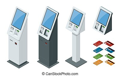 Isometric set vector online payment systems and self-service...