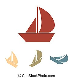 isometric, set., vitorlázik, hatás, csónakázik, ikon