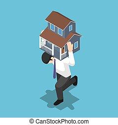 isometric, seu, casa, costas, carregar, homem negócios