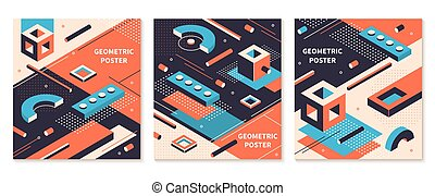 Isometric shapes poster. 3D abstract geometric brochures, futuristic technology backgrounds. Vector isometric cover set
