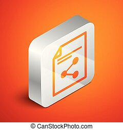Isometric Share file icon isolated on orange background. File sharing. File transfer sign. Silver square button. Vector Illustration