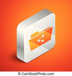 Isometric Share folder icon isolated on orange background. Folder sharing. Folder transfer sign. Silver square button. Vector Illustration